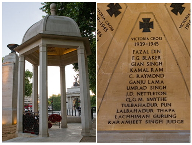 """Memorial Gates"", Constitution Hill, London/ Inscription of Tul Bahadur Pun VC's name on the ""Memorial Gates"" at Constitution Hill, London   In addition, as a winner of the Victoria Cross, his name is inscribed on memorials at Westminster Abbey and the Union Jack Club, in London, and on the ""Memorial to the Chindits"" on the north side of the Victoria Embankment next to the Ministry of Defence headquarters in London."