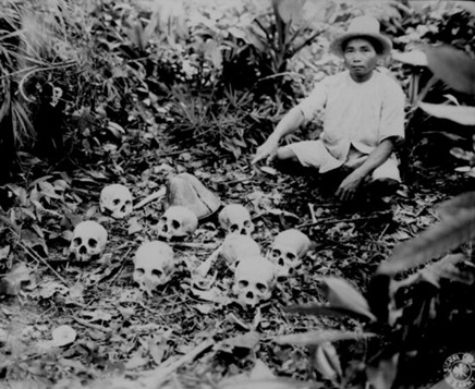 Pedro Cerono, the man who discovered the group of eight skulls.                                                                  This photograph was taken in Tapel, Cagayan Province, Luzon, Philippine Islands.                                       This photograph was taken by Lewis D. Klein on November 23, 1945.